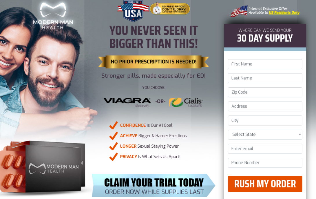 Modern Man Health Viagra Sildenafil And Cialis Tadalafil® | Price, Reviews