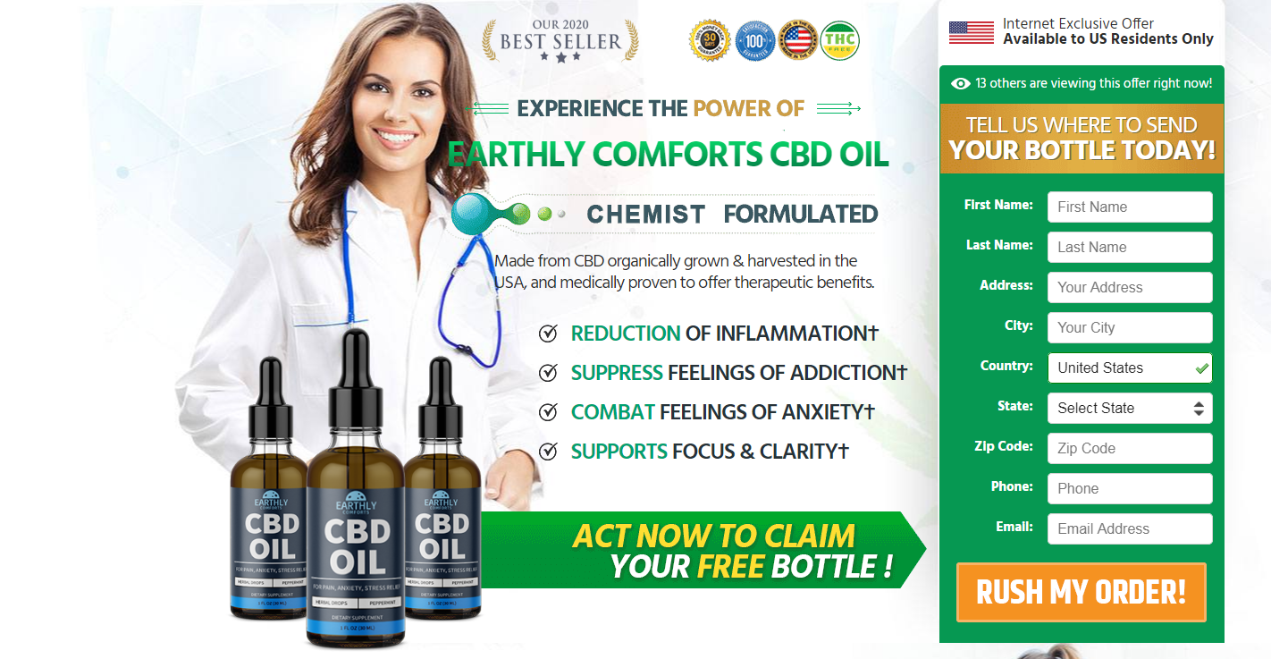 Earthly Comforts CBD Oil® {Modify 2020} Price, Scam, Benefits, Reviews?